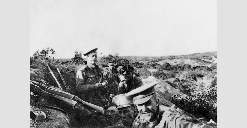 Members of 13th Battalion, AIF, occupying Quinn's Post on the heights above Anzac Cove, 25 April 1915