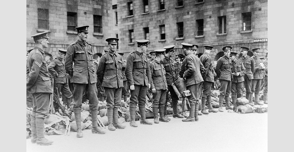 Soldiers line up in preparation to leave