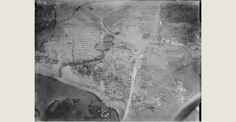 Aerial view of a camp in the Dardanelles, 29 March 1915