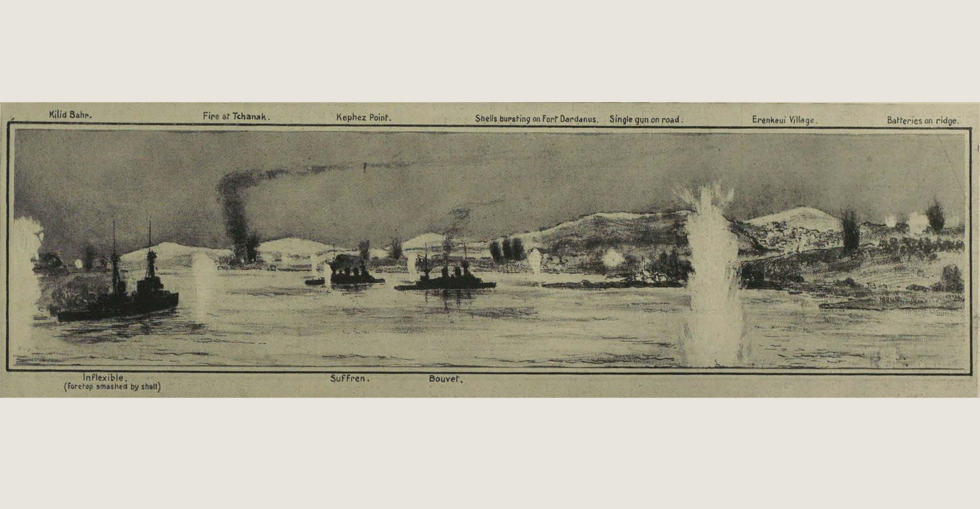 The Dardanelles action on 18 March at around 12.30pm