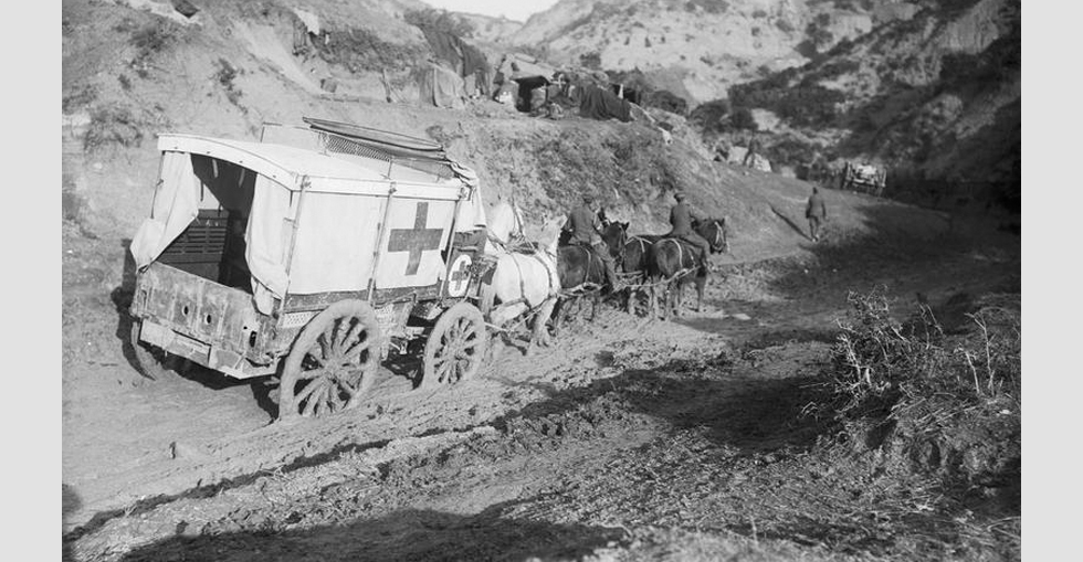 An ambulance wagon of the 42nd (East Lancashire) Division in Gully Ravine, showing the mud after the storm of November 1915.