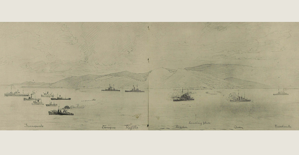 The Australians and New Zealanders landing on the Gallipoli Peninsula, at Gaba Tepe, where they stormed the heights