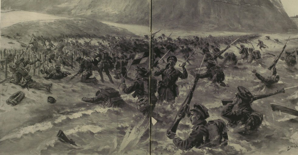 The opening phase of the Lancashire Fusiliers' attack on 25 April 1915, which won three Victoria Crosses for the battalion