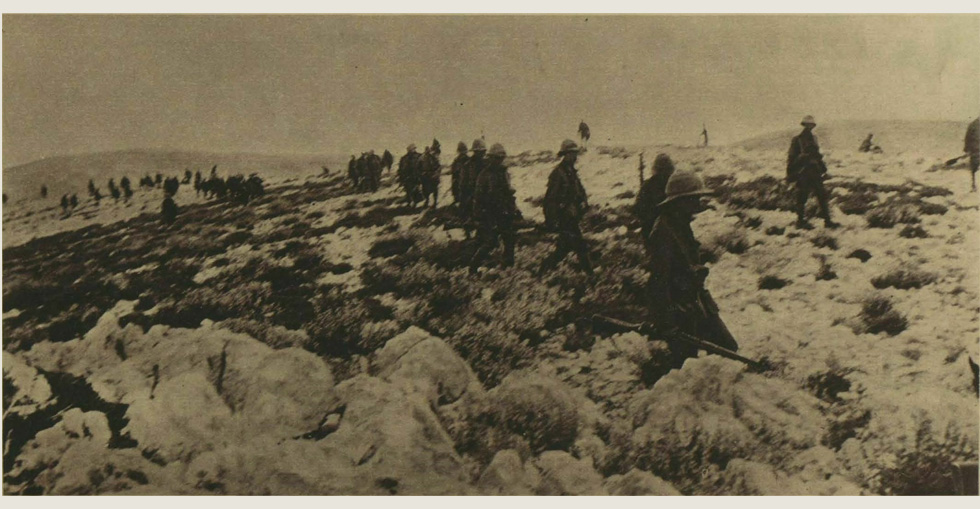 Part of the Naval Brigade moving across a ridge near Cape Helles