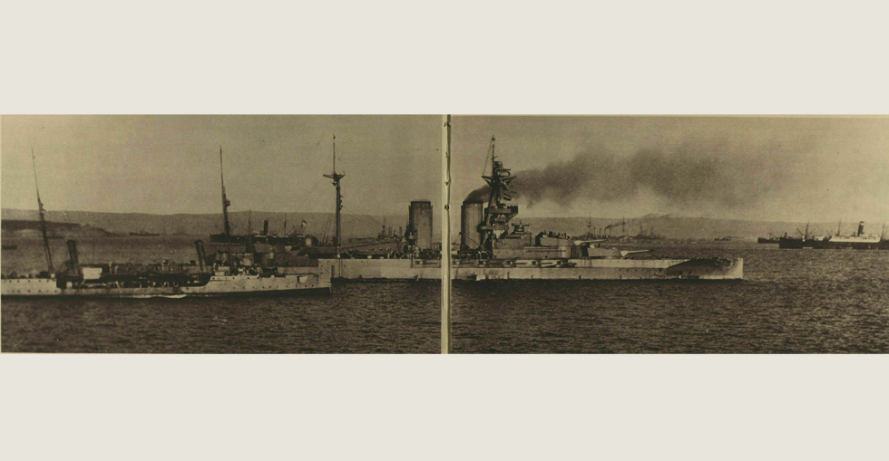 The 'Queen Elizabeth' in the Dardanelles bombarding forts on Cape Helles, covering the advance of the Allied troops