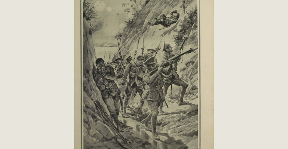 Reserves of the 3rd Australian Brigade battling their way up a narrow ravine with ammunition supplies and maxims