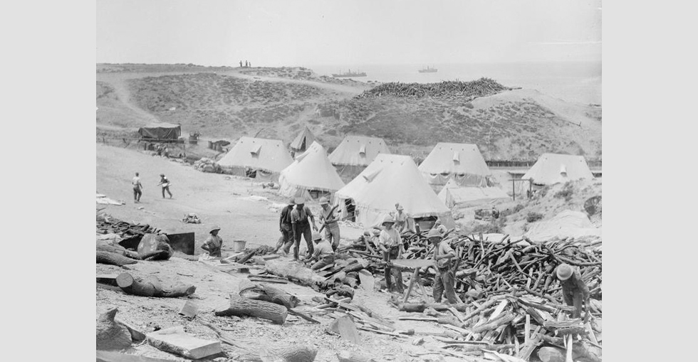 The bakery at Cape Helles (Bakery Beach) from which bread was first issued on 21 May 1915. Above Bakery Beach was the best place to 'win' wood, a very scarce commodity.