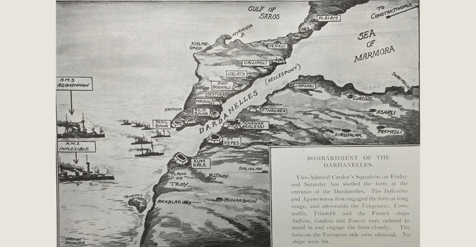 Map of the Dardanelles and Gallipoli Peninsula