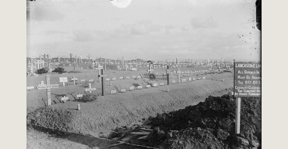 British cemetery at Lancashire Landing, W Beach, Cape Helles. The grave on the far left is of Gunner Frederick Hugh Joynson of the 90th Heavy Battery, Royal Garrison Artillery.