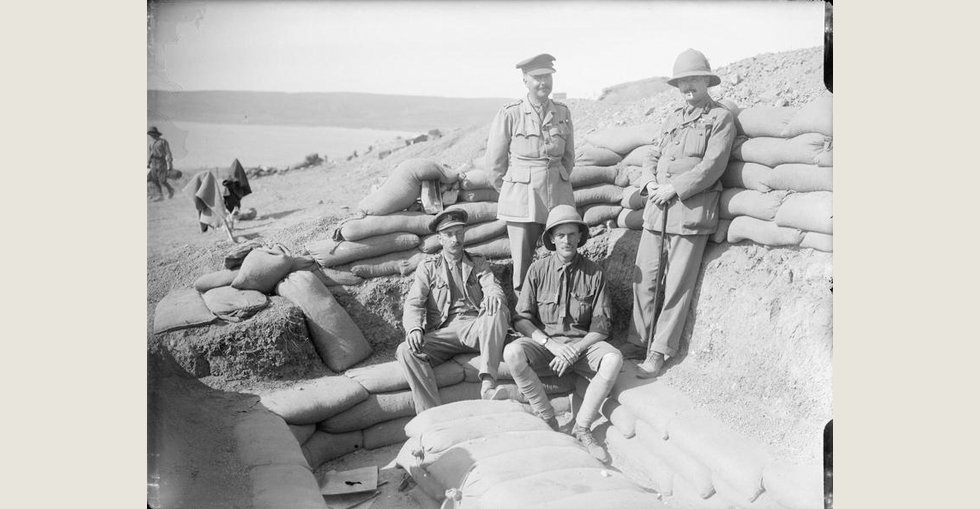 Captain Geoffrey Taylour (seated left), Lieutenant Colonel Mervyn Wingfield (seated right), Lieutenant Colonel Bernard Forbes (standing left) and Colonel John Stewart-Murray (standing right). Taken at Anzac Cove.