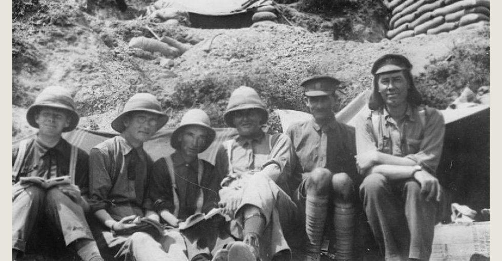 A group of chaplains on Anzac in September 1915. From left to right: Chaplains Merrington, A.I.F.; King, N.Z.E.F.; Dale, Royal Irish Rifles; McMenamin, N.Z.E.F.; O'Connor and Crozier, both of the Royal Irish Rifles.