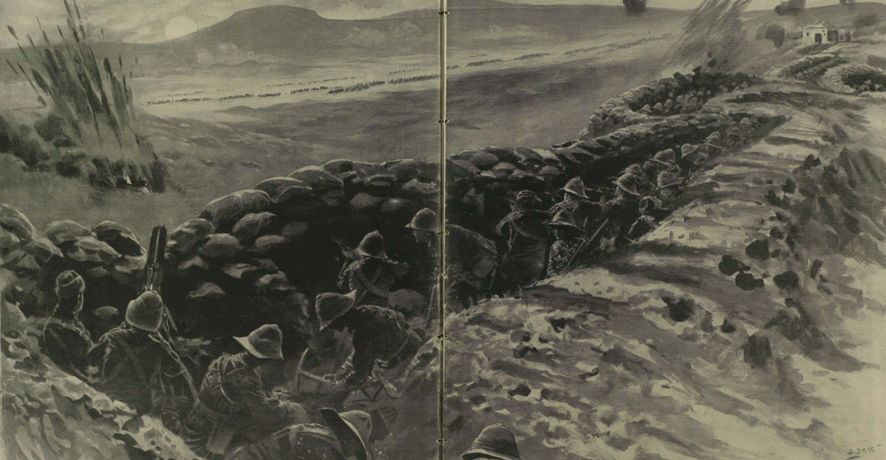 British troops repulsing a Turkish attack on Yilghin Burnu, nicknamed 'Chocolate Hill' because of its burnt colour