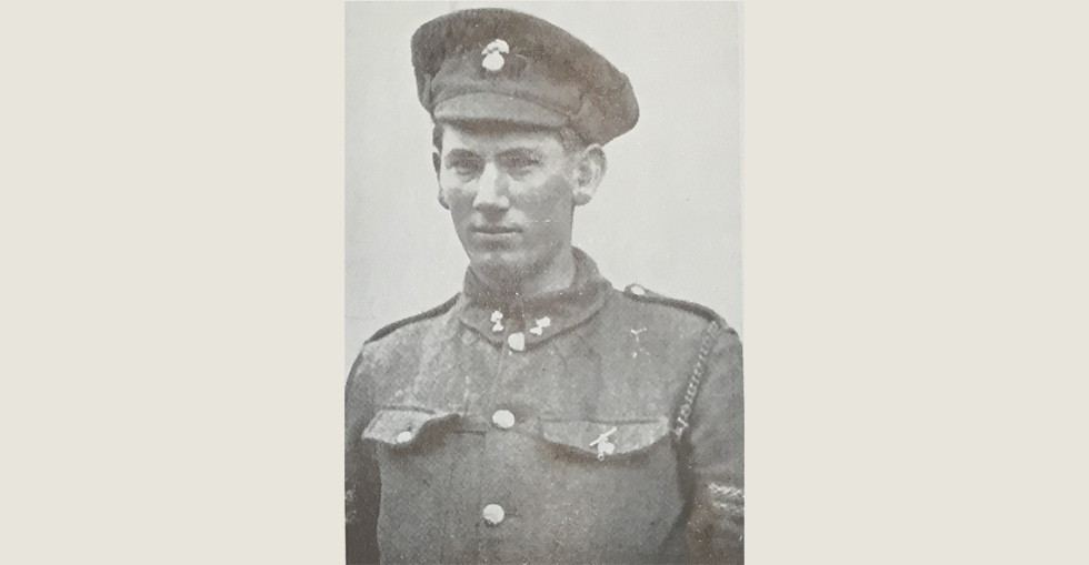 Corporal William Cosgrove, VC, of the Munsters. In the attack on the Turkish position at cape Helles Corporal Cosgrove rushed forward in advance of his section and pulled up the stakes holding up the enemy's wire entanglements.