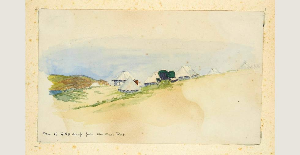 View of G.H.Q. camp from Chichester's mess tent