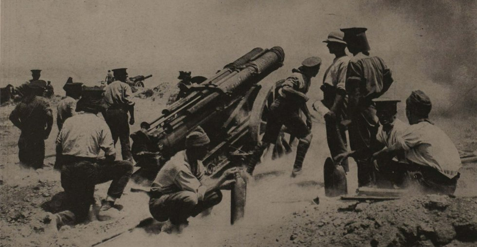 'Annie' and other guns - part of the British artillery at Gallipoli