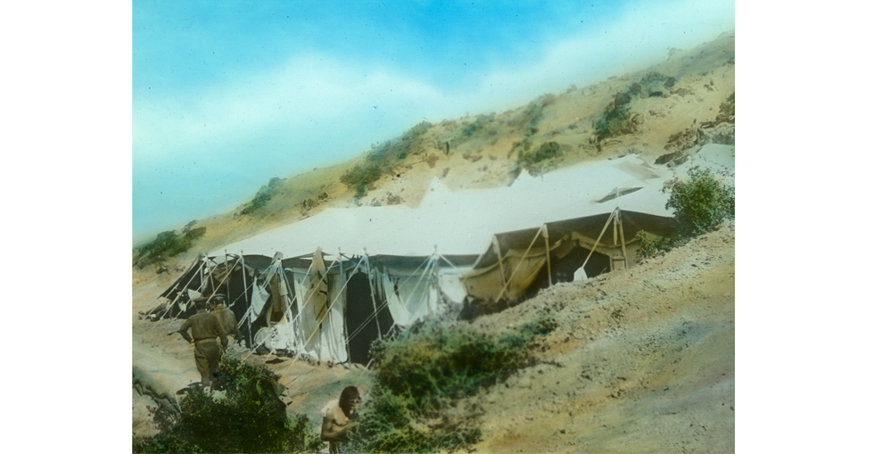 Tent of a small army encampment on a hillside at Gallipoli.