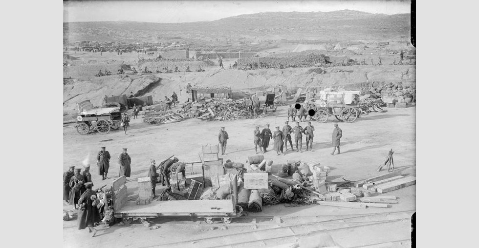 British troops preparing for evacuation at 'A' West Beach, Suvla Bay, 17 December 1915.