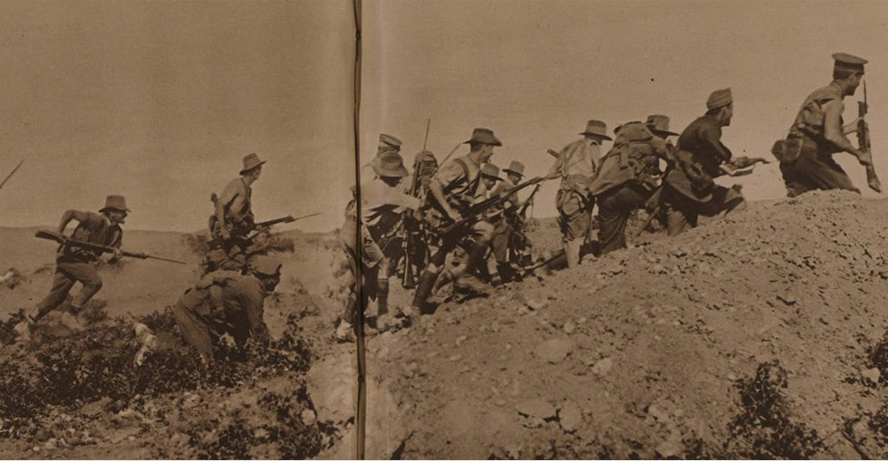 Australians charging near a Turkish trench just before the evacuation of ANZAC