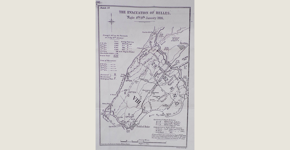 Plan for the evacuation of Helles on the night of 8/9 January 1916.