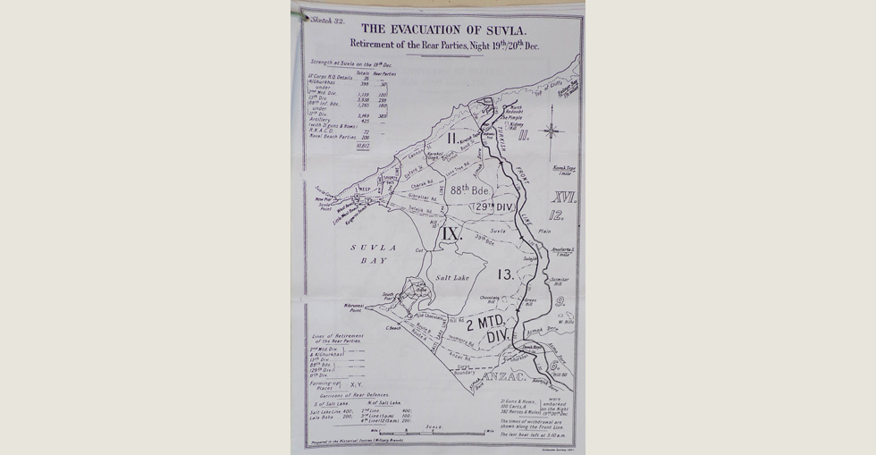 Plan for the evacuation of Suvla. Retirement of the Rear Parties on the night of 19/20 Dec