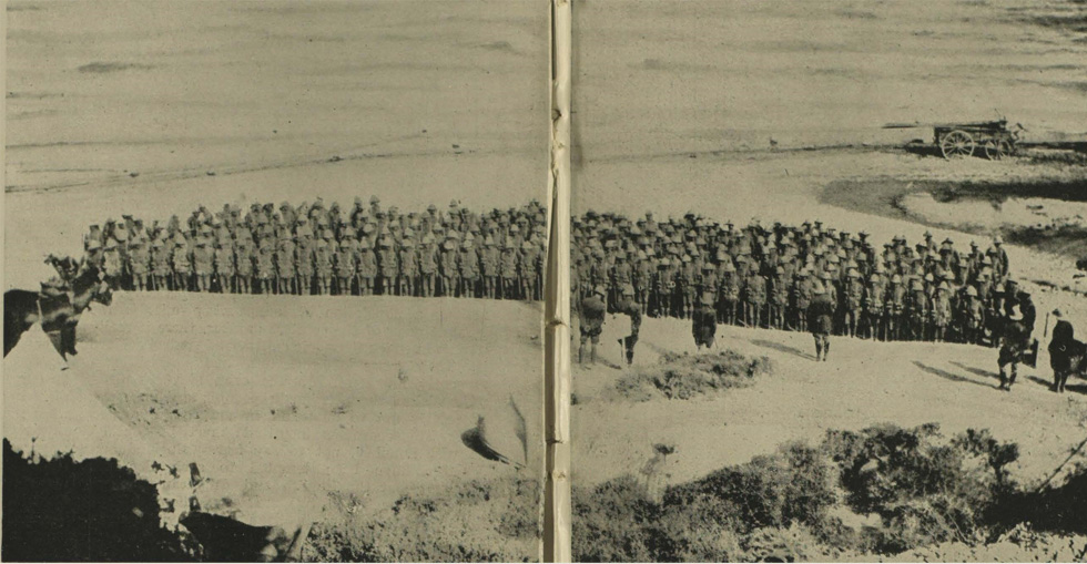The 2nd Hampshires on parade at Gully Beach, two days after going into action 800 strong