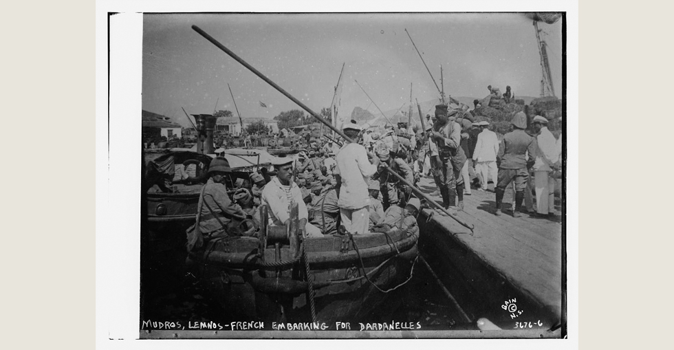 Mudros, Lemnos: French embarking for the Dardanelles