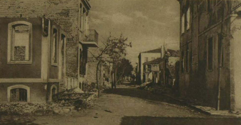 From the Turkish side: A street in Chanak, showing the damage done by bombardment