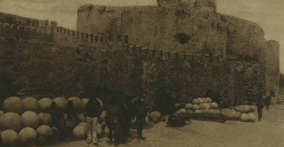 From the Turkish side: The fort at Kilid Bahr with Turkish marines and old stone cannon balls