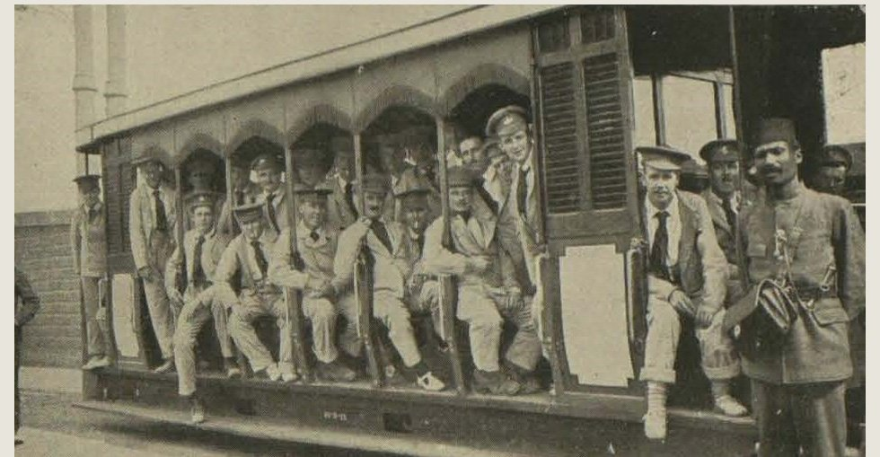 Gallipoli soldiers recuperating in Egypt: Wounded men enjoying a free ride on a Cairo tram through the streets and bazaars