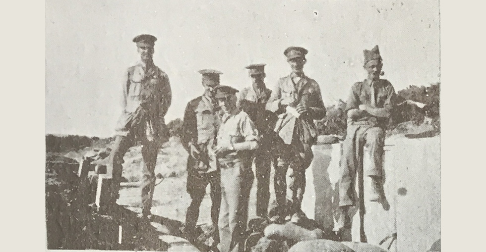 Group of officers, 66th Field Company, RE, 10th Division - Left to right Major Holmes, Lt Sleigh, Lt Sterne, Lt Ferguson, Capt Satterthwaite and Lt JH Waller