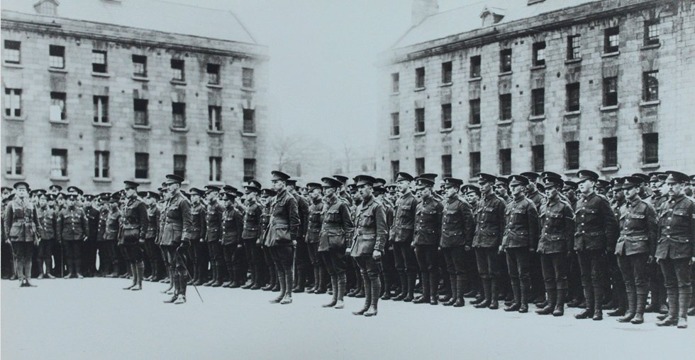 Soldiers stand to attention at the Royal Barracks