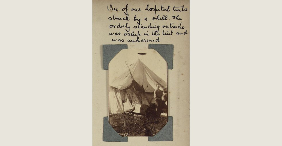 A tent hit by a shell