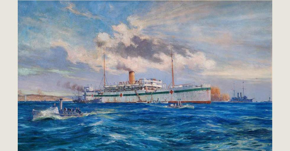 The Royal Navy hospital ship 'Somali', painted in white and marked with red cross symbols, moored at sea off Cape Helles. Painted by Oscar Parkes.