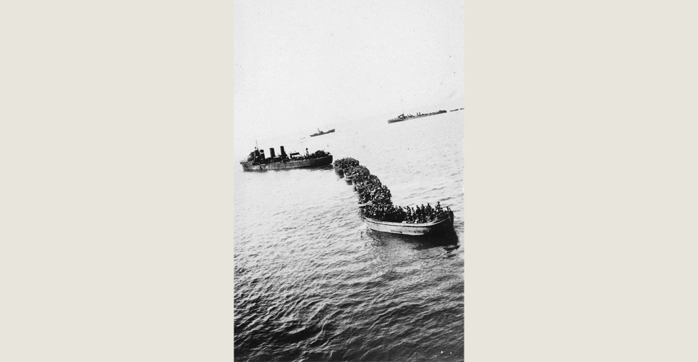 A landing party approaching the shore at Gallipoli