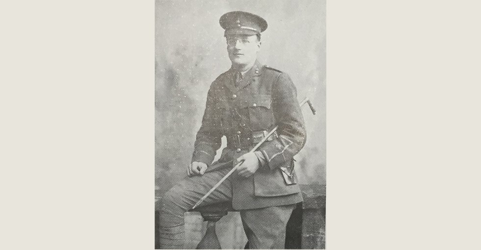 Lieutenant A.B. Douglas, 6th Battalion Royal Inniskilling Fusiliers, who was hospitalised for wounds received in action in the taking of Dublin Hill in the Dardanelles.