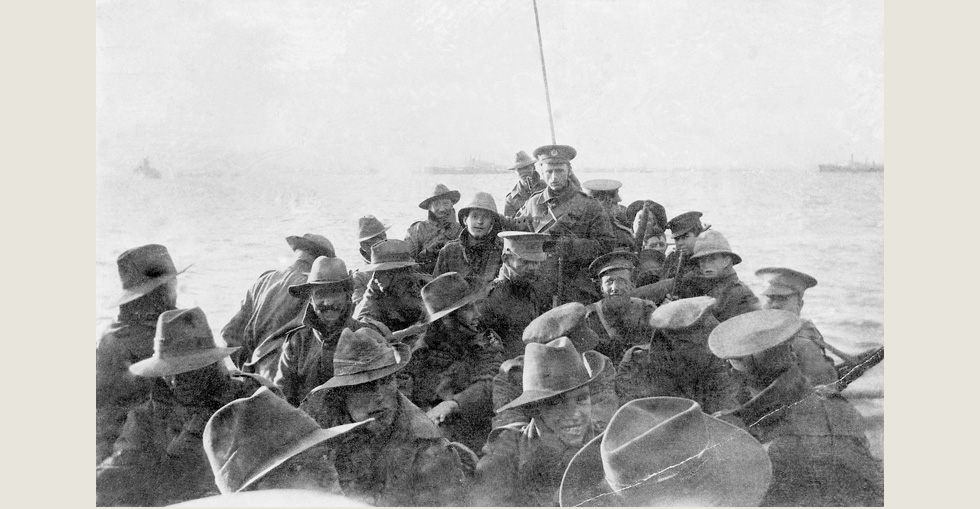 Lifeboat carrying men of the 1st Divisional Signal Company towards Anzac Cove at 6AM on 25 April 1915