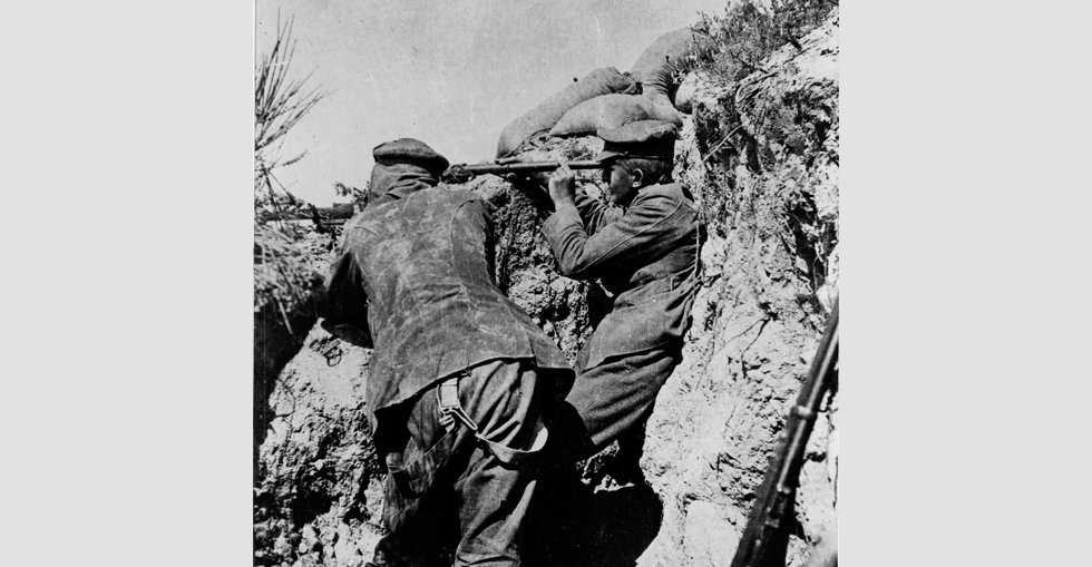 Soldiers in a trench during the Gallipoli campaign