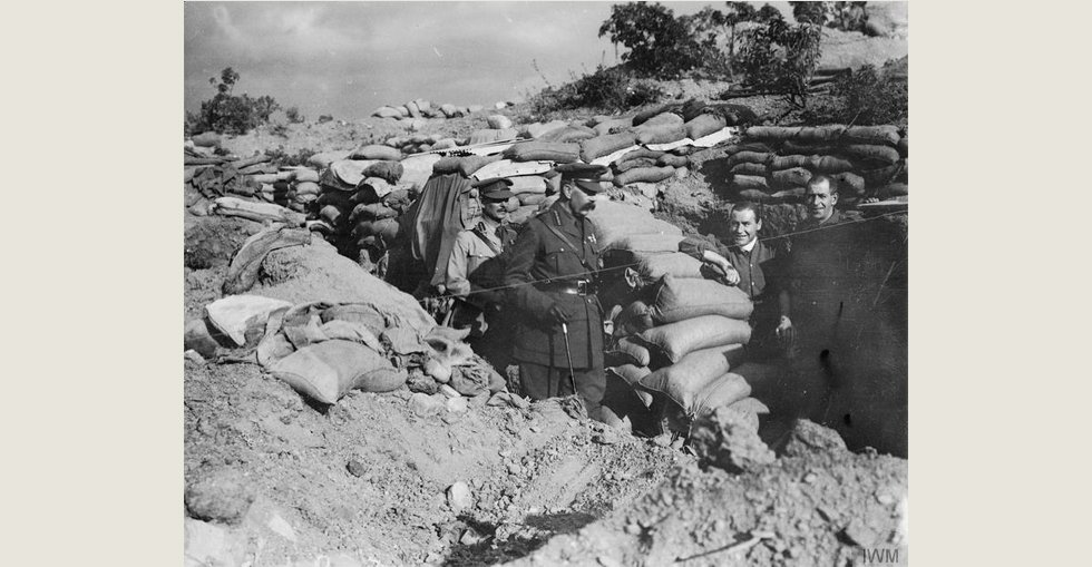 Lord Horatio Kitchener, visiting ANZAC, returning through the trenches, to the beach from Russell's Top and Bully Beef Sap, 13 Nov 1915. With him is General William Birdwood.