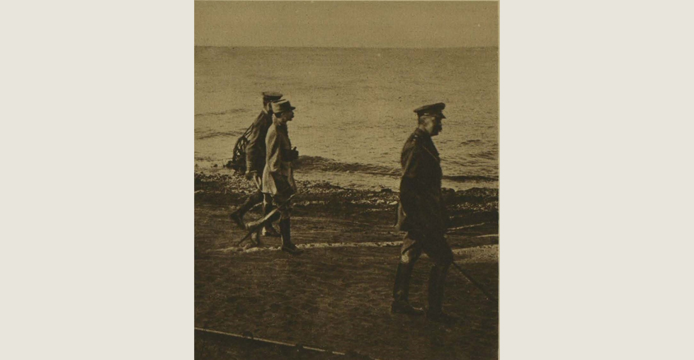 Lord Kitchener returning from a visit to the firing line in Gallipoli