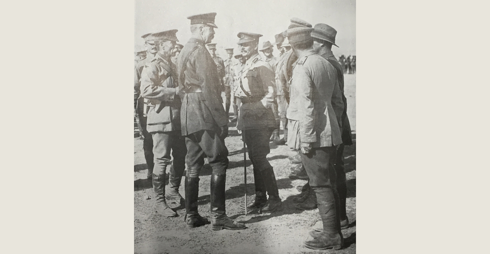 Lord Kitchener talking with some of the Australians in Gallipoli