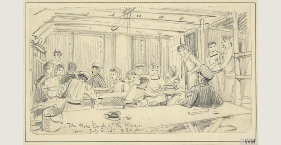 In the Mess Deck, Manica, 9.30pm, July 8th 1915:  a sketch, by Herbert Hillier, of the interior of the mess deck of HMS Manica, with sailors sitting at long wooden benches.