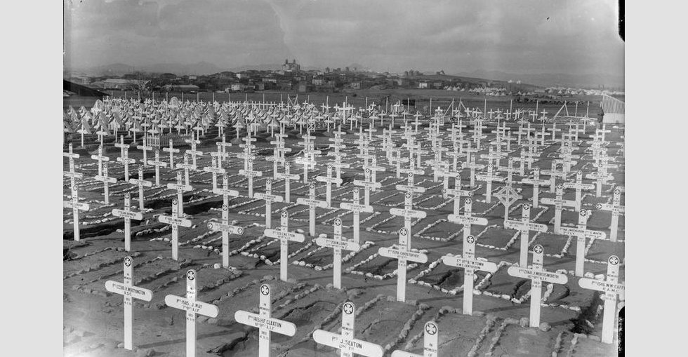 An Allied Forces cemetery showing the village of Mudros in the background