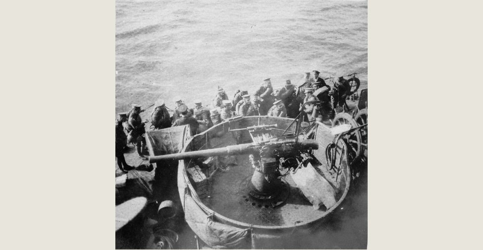 View of the deck of a destroyer waiting to land New Zealand troops at ANZAC Cove