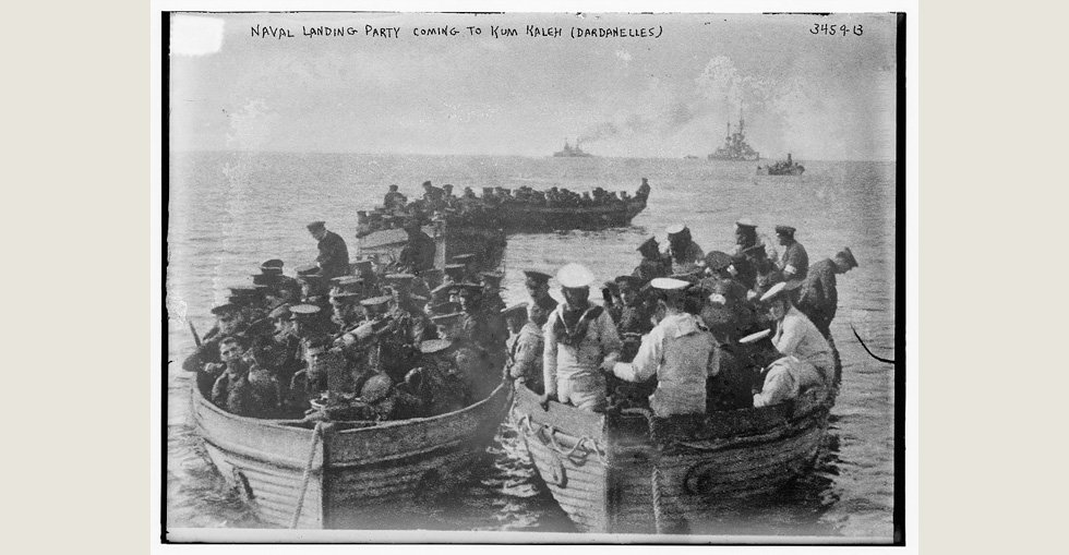 British naval party arriving at Kum Kaleh at the entrance to the Dardanelles