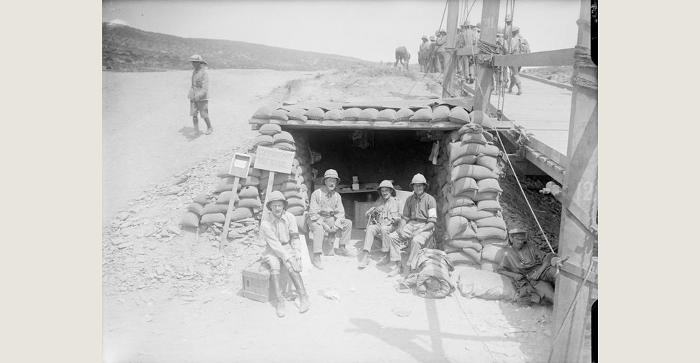 Office dug-out of the Commandant at Advanced Post in Suvla Bay.