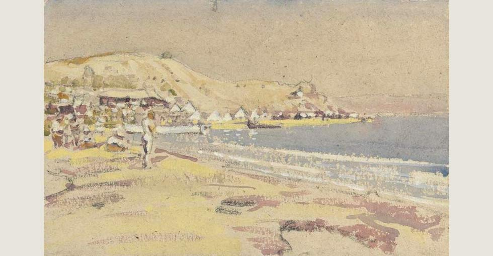 Painting of 'V' Beach at Helles in Gallipoli by Geoffrey Stephen Allfree