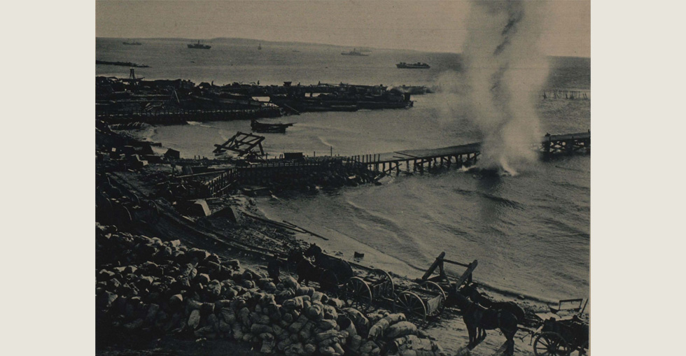 Some of the last Turkish shells falling at West Beach, Suvla on the final day of the evacuation