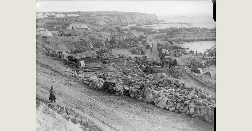 Preparations for evacuation at Lancashire Landing, 'W' Beach, Cape Helles, 7 Jan 1916