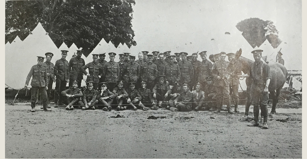 D Company of the 7th Dublin Fusiliers, who have had some casualties in recent fighting. The photo was taken at Basingstoke.