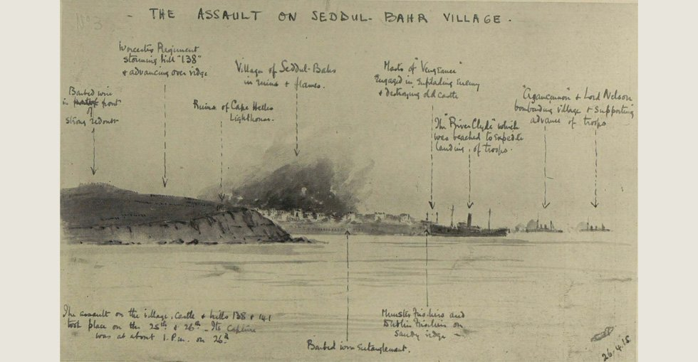 The transport 'River Clyde' carrying her 2,000 troops ashore during the assault on Sedd el Bahr